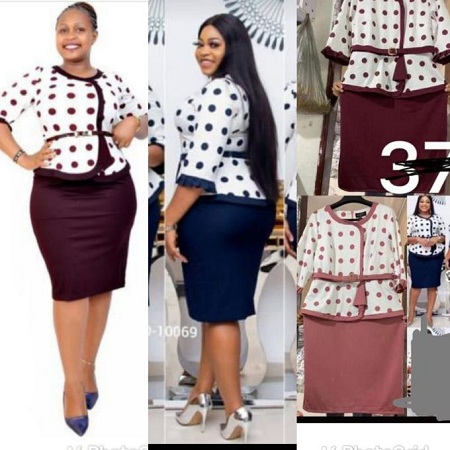 Fashion Peplum Maroon And White Dotted Dress Suit