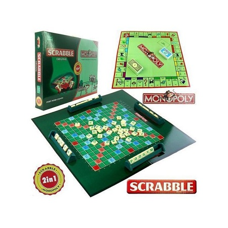 Scrabble & Monopoly 2 In 1 Family Party Board (Giant Size)