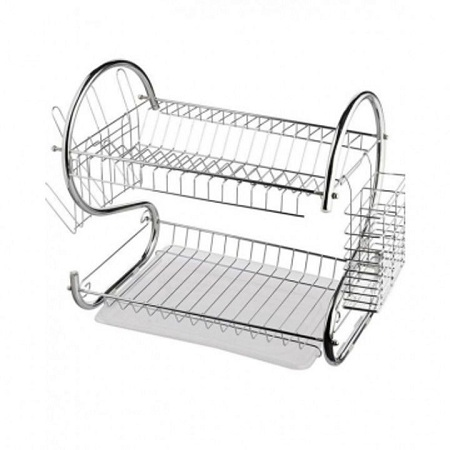 2 Tier Dish Drainer Drying Rack silver Normal