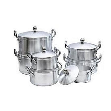 Aluminium Cooking Pots silver 7pcs
