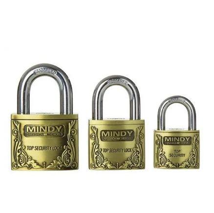 Top Anti-Burglar Security Padlock with 3 Keys Gold Medium gold large