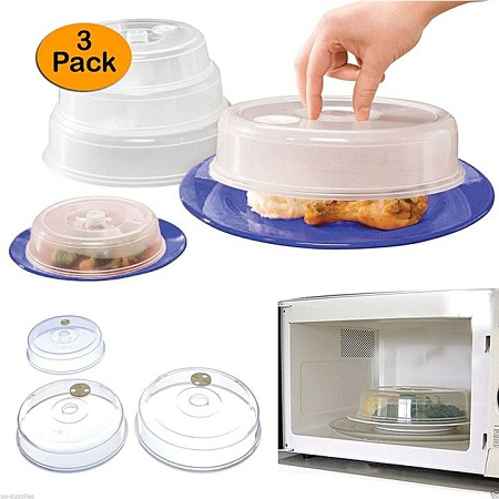 Ventilated Microwave Plate Covers Clear 3pcs clear 3pcs