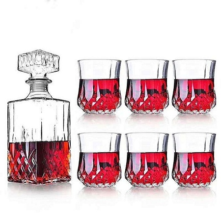 whiskey decanter with 6 Glasses Crystal normal