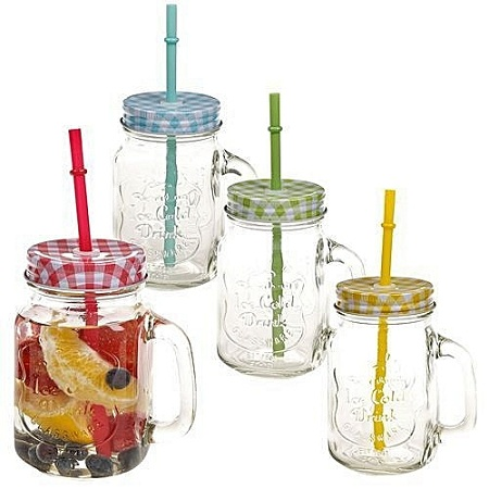 Mason jar with handle , cover & reusable straw
