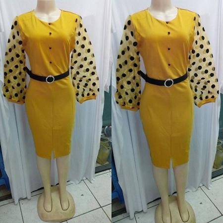 Fashion Yellow Puff Sleeves Bodycon Dress
