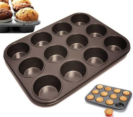 12 holes non stick baking tray black