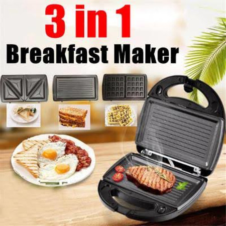 3 in 1 Breakfast maker switch plates ro make grill meat, waffles and sandwiches