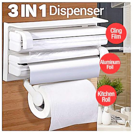 3 in 1 cling film, aluminum  foil  and kitchen  roll dispenser