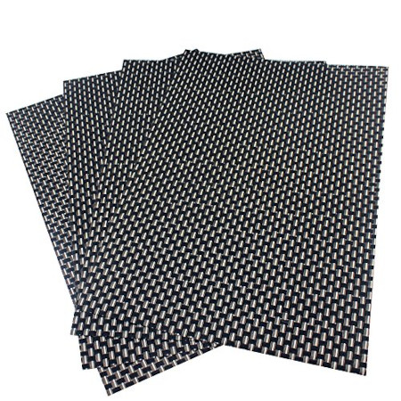 Black and Gold Pvc heat resistant table place mats 6pcs
