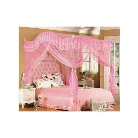 Fashion Mosquito Net with Metallic Stand (Curved) 4 by 6 - Pink
