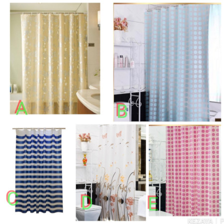 Shower curtains with hooks 200cm by 190cm
