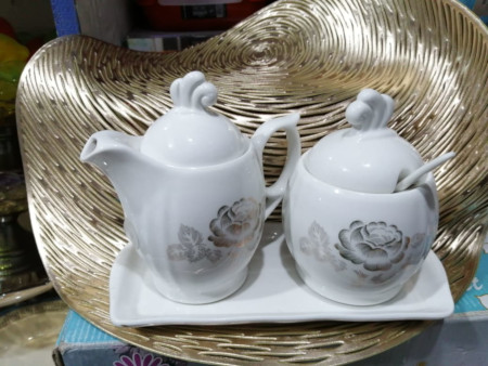 High Quality Ceramic sugar dish, milk pot and tray