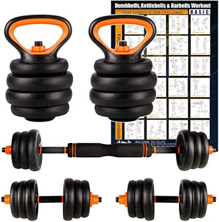 4 In 1 Dumbbell And Kettle Bell Exercise Set