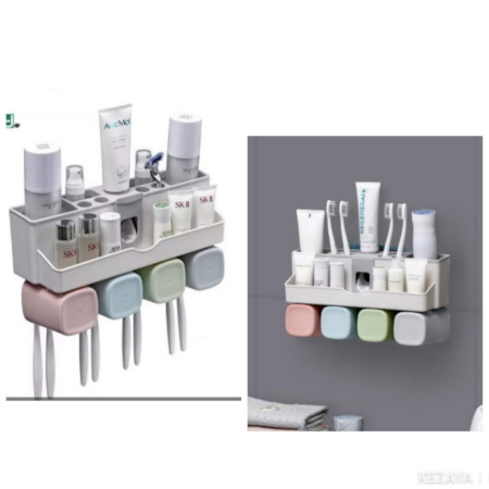 Hands Free Wall Mount Bathroom Accessories Automatic Toothpaste Dispenser and Toothbrush Holder Set
