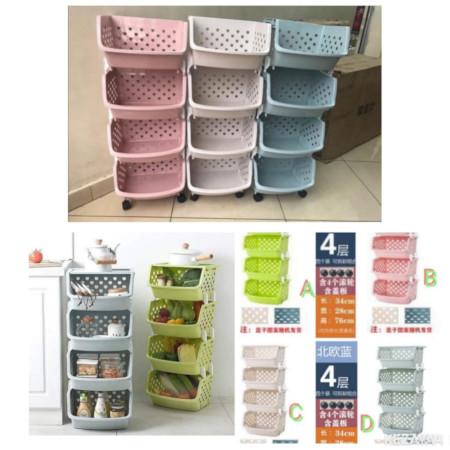 4 Tier Kitchen Fruit Vegetable Storage Basket Rack with wheels