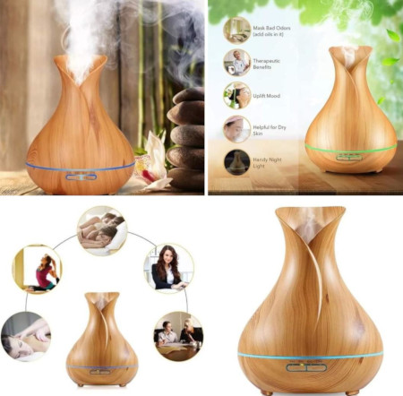 Remote Control 400ML Essential Oil Diffuser Wood Grain Aromatherapy Humidifier
