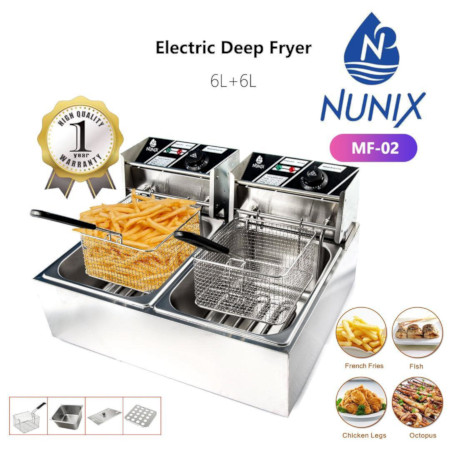 tainless Steel Electric Deep Frier(Double) 12 Liters