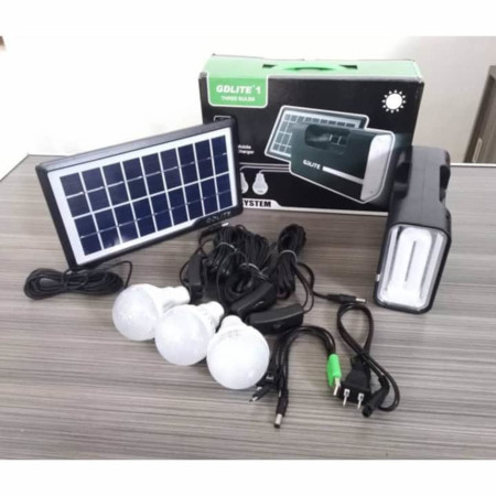 Gdlite -8006 Home Solar System with 3 LED Bulbs