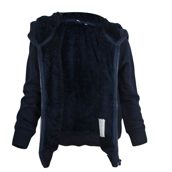 Fashion Navy Blue Fleeced Hoodie For Kids