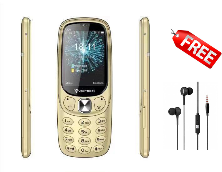 Vonex A309, FM Radio,Dual Simcard, Camera With MP3 ,Big Battery +Torch