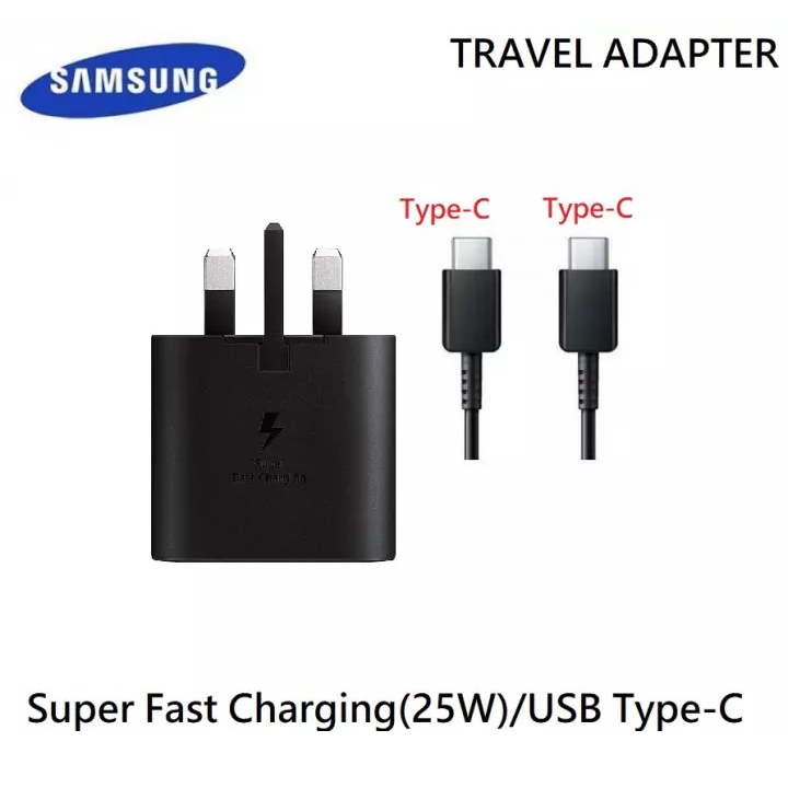 SAMSUNG 25W USB-C To USB-C Fast Charging Charger For Note 10 + NOTE 20 - BLACK