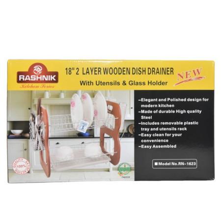 Rashnik 18 inch 2 Layer Wooden Dish Rack/Drainer RN1623