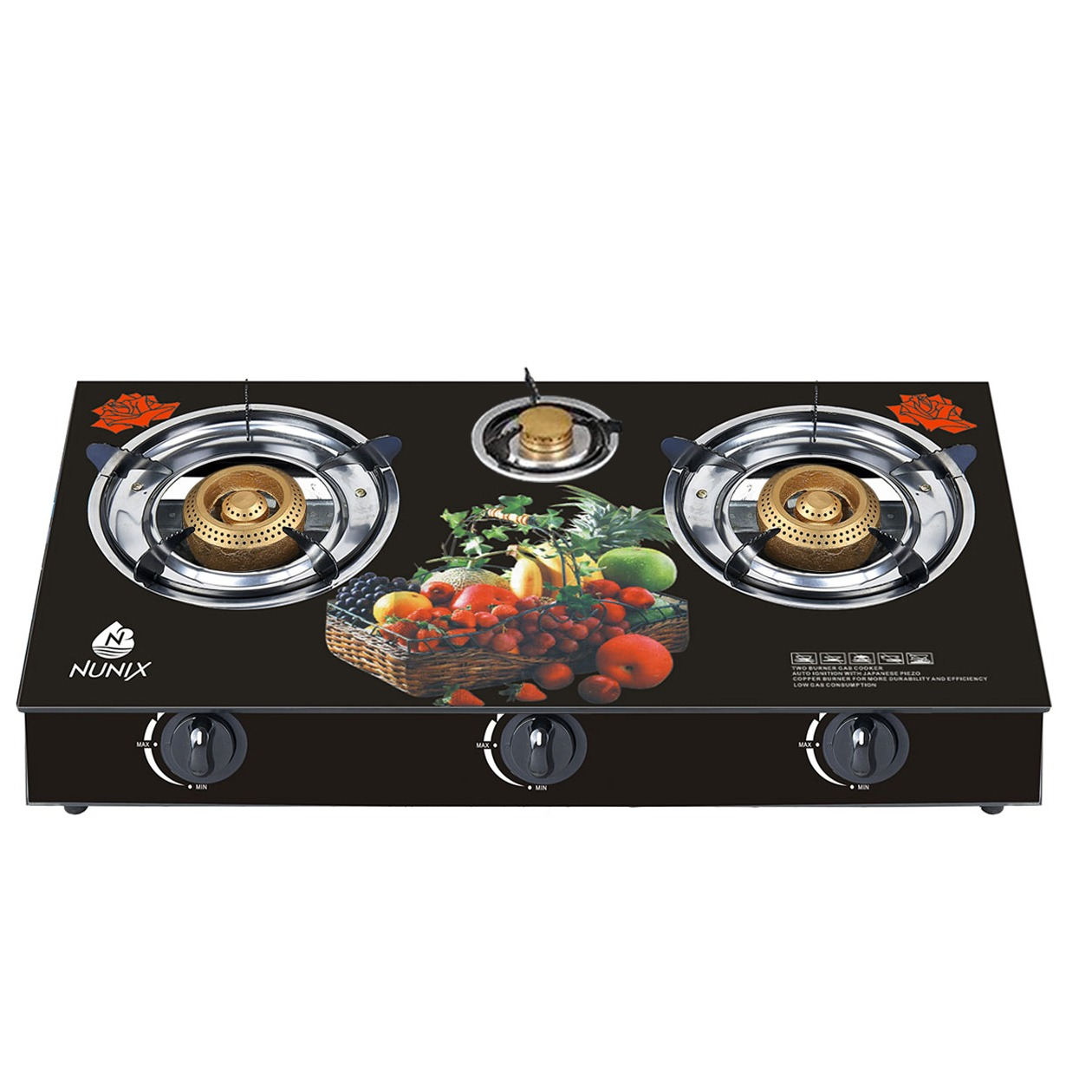 Nunix Tampered Glass 3 Gas Table Cooker GT