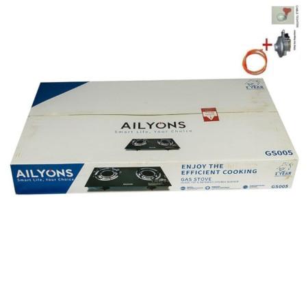 AILYONS Glass TopTable Cooker + Free 2M Pipe + 13KGRegulator+Tighten