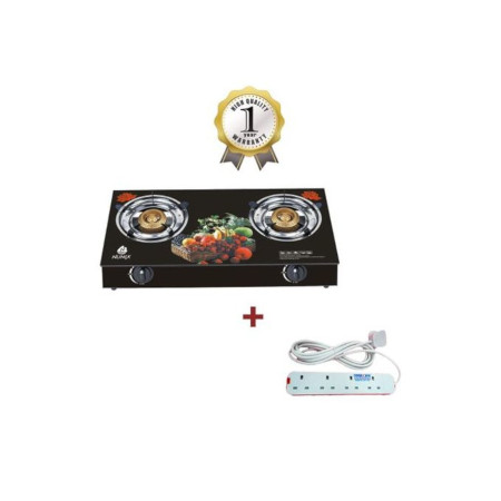 Nunix GG PRO-004 - Tampered Glass Gas Table Cooker + Free Cable