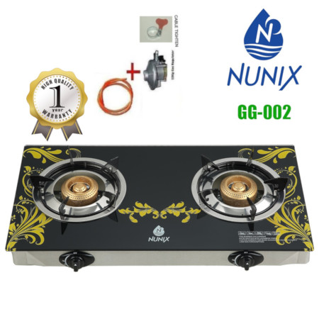 Nunix Glass Table Top Gas Cooker GG Model + 13KG Regulator + 2M Pipe