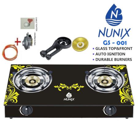 Nunix Glass Table Top Gas Cooker GS Model + 13KG Regulator + 2M Pipe