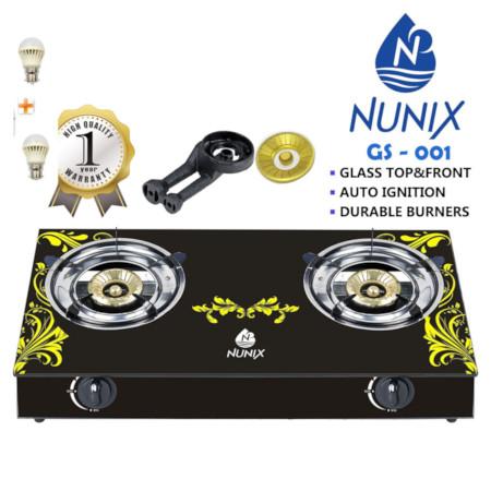 Nunix Glass Table Top Gas Cooker GS Model + 2 Free Bulbs