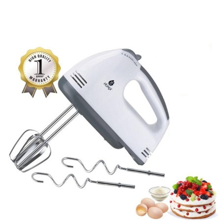 Nunix Hand Mixer,7 Speed Turbo With Steel Dough Hooks And Beater