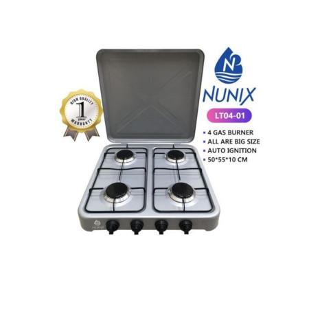 Nunix 4 Gas Burner Table Top Cooker Silver