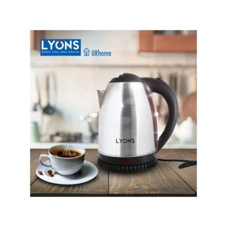 Lyons FK-0301 Silver & Black Cordless Stainless Steel Electric Kettle - 1.8L.