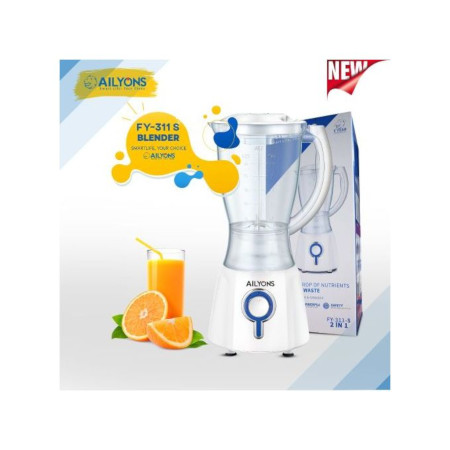 AILYONS FY-311S 2 In 1 Blender With Grinding Machine, 1.5L- White