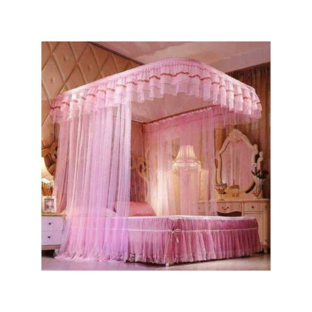 Two stand mosquito net with sliding rails-Pink