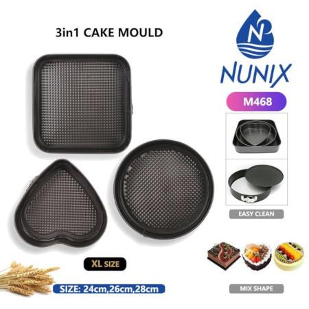 Nunix 3Pcs Non-stick Cake Baking Molds Pans