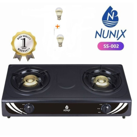 Nunix Stainless Steel Table Top Gas Cooker SS Model + 2 Free Bulbs