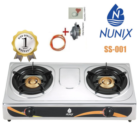 Nunix Stainless Steel Table Top Gas Cooker SS Model + 13KG Regulator + 2M Pipe
