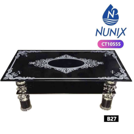 Nunix Glass Coffee Table With Designer Patterns & Strong Base