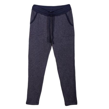 Navy Blue Striped Unisex Stretch Fleece Sweatpants