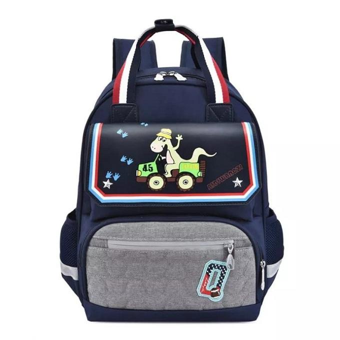 Dinosaur Printed School Backpack Bag - Black