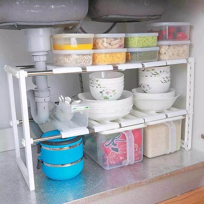2-Tier Under Sink Adjustable Shelf Storage Rack - White