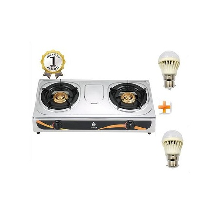 Nunix Stainless Steel 2 Burner Gas Stove +Two Free LED Bulbs