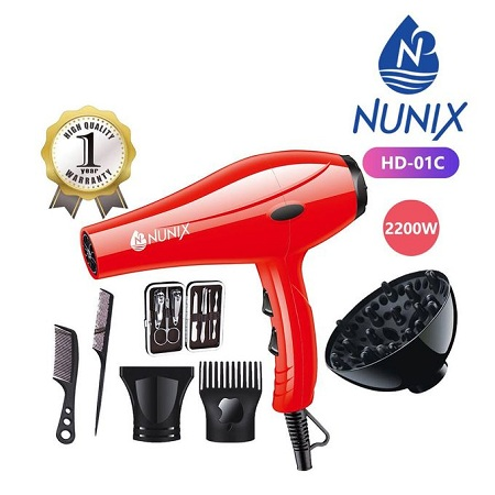 Nunix HD-01C 2200W Blow Dry Hair Dryer - Red