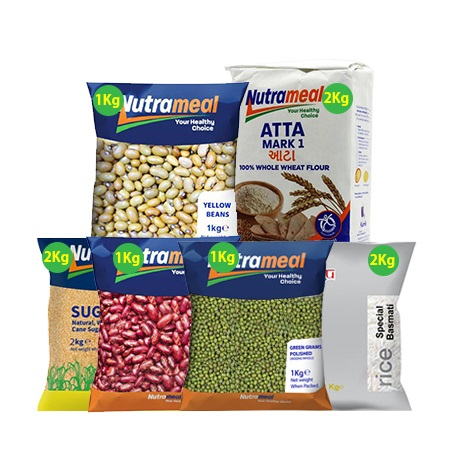 Food Pack-Yellow  Beans 1Kg, Atta Mark 1Kg, White Sugar 2 Kg,  Green Grams 2 Kg, Special Basmati Rice 2 Kg, Nyayo Beans 1Kg