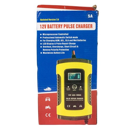 12V LCD Pulse Repair Battery Charger - Yellow