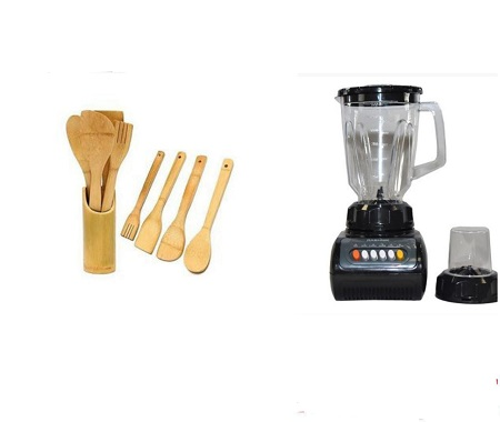 2 In 1 Electric Blender- Black Plus Four Wooden Kitchen Spoons