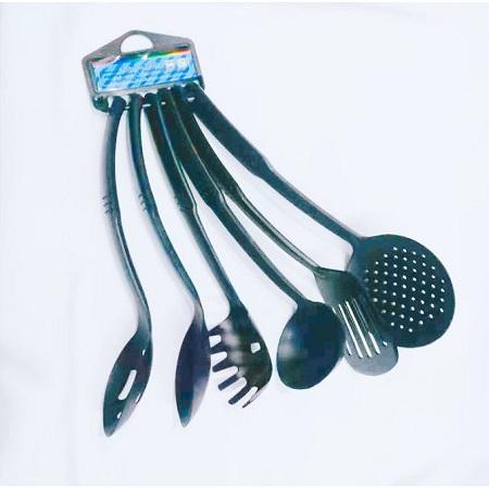 Generic 6 Piece Non-Stick Cooking Spoons Set - Black